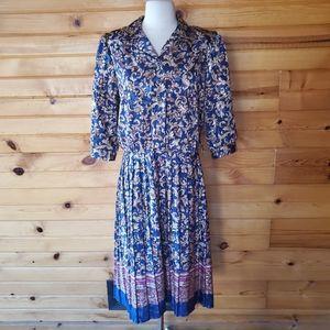 1980s Unlabeled Multi-Color Secretary Dress